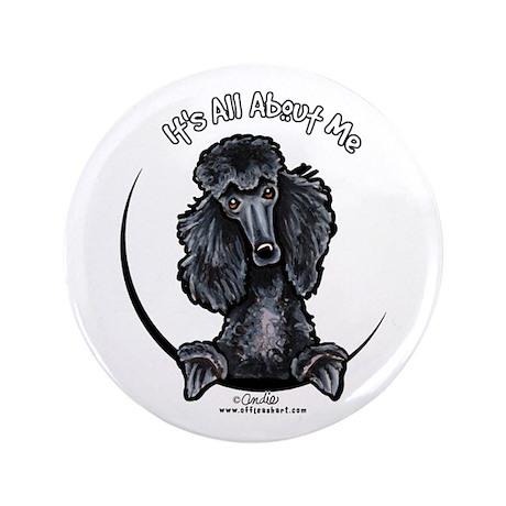 "Black Standard Poodle IAAM 3.5"" Button"