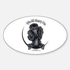 Black Standard Poodle IAAM Sticker (Oval)