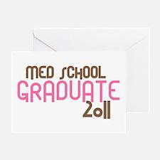 Med School Graduate 2011 (Retro Pink) Greeting Car