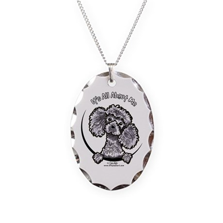 Gray Poodle IAAM Necklace Oval Charm