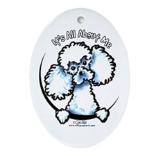 White Poodle IAAM Ornament (Oval)
