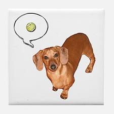 The Ball Dachshund Dog Tile Coaster