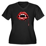 Vampire Fangs Women's Plus Size V-Neck Dark T-Shir