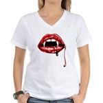 Vampire Fangs Women's V-Neck T-Shirt