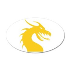 Yellow Dragon Head 22x14 Oval Wall Peel