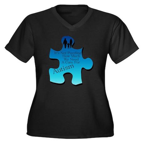 Autism Go Blue Women's Plus Size V-Neck Dark T-Shi