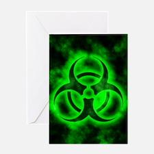 Green Glow Biohazard Greeting Card