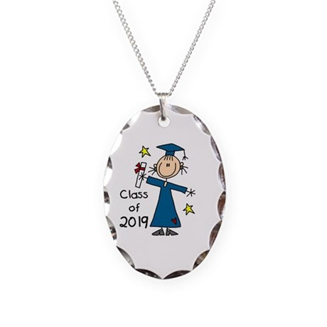 Stick Girl Grad 2016 Necklace Oval Charm