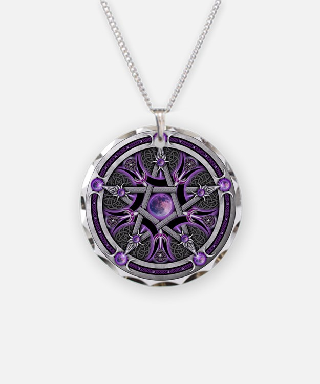 Pentacle of the Purple Moon Necklace Circle Charm