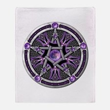 Pentacle of the Purple Moon Throw Blanket