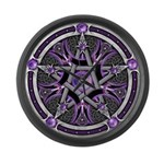 Pentacle of the Purple Moon Large Wall Clock