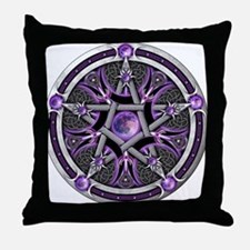 Pentacle of the Purple Moon Throw Pillow