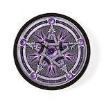 Pentacle of the Purple Moon Wall Clock
