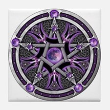 Pentacle of the Purple Moon Tile Coaster