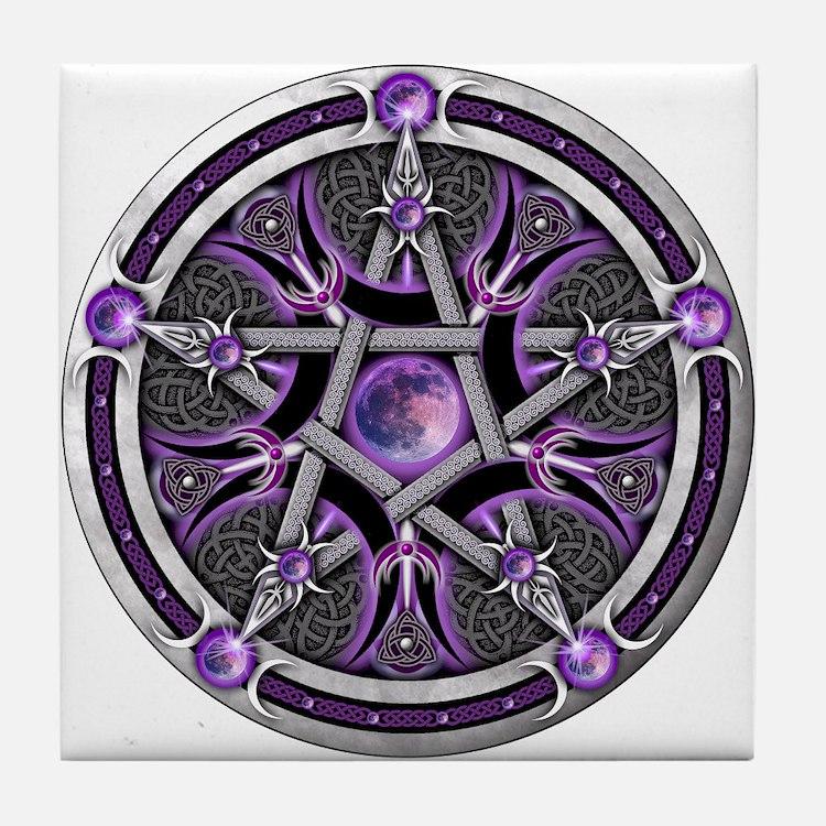 Pentacle of the Purple Moon Tile Coaster
