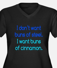 Cinnamon Buns Women's Plus Size V-Neck Dark T-Shir
