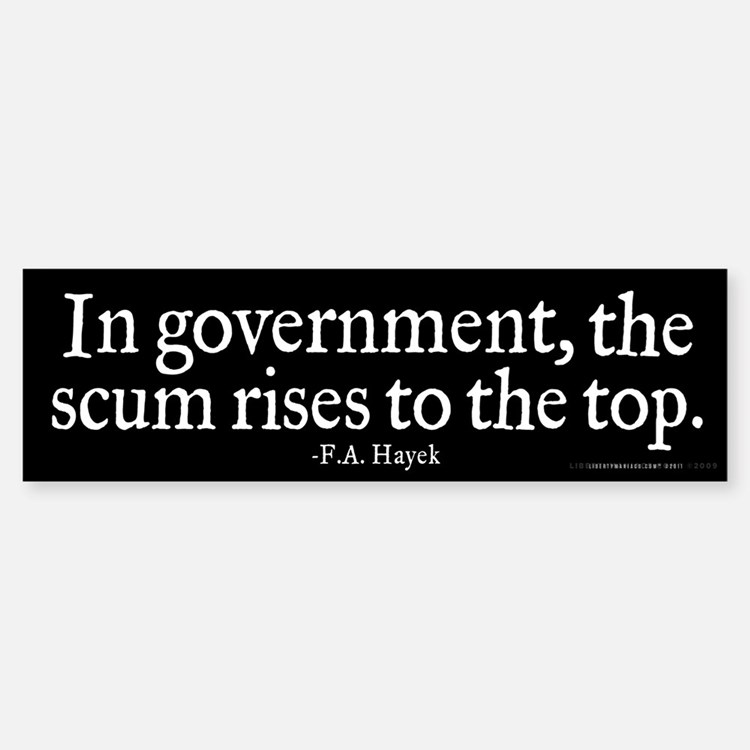 Hayek Government Quote Sticker (Bumper)