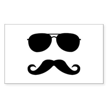 glasses and mustache Sticker (Rectangle)