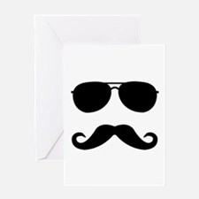 glasses and mustache Greeting Card
