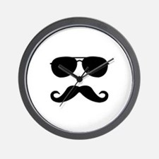 glasses and mustache Wall Clock