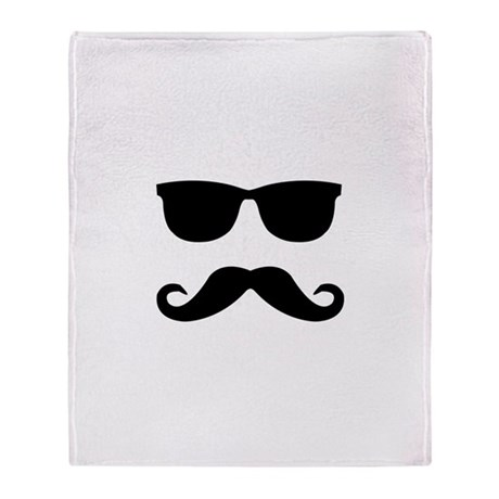 glasses and mustache Throw Blanket