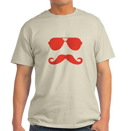 glasses and mustache Light T-Shirt