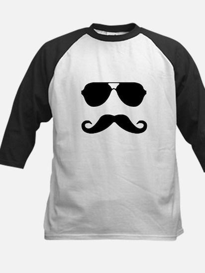 glasses and mustache Kids Baseball Jersey