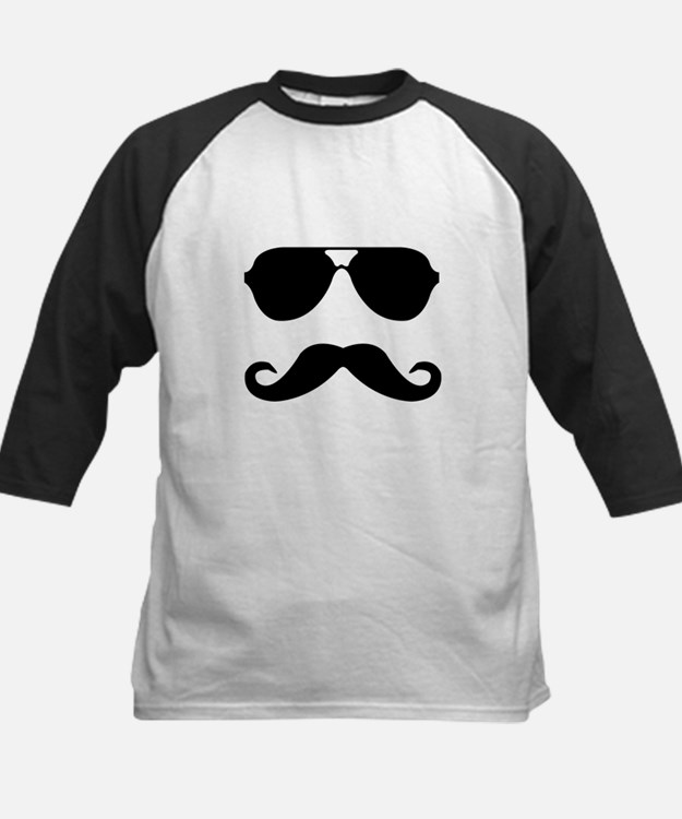 glasses and mustache Kids Baseball Jersey