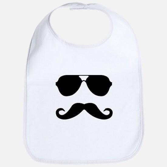 glasses and mustache Bib