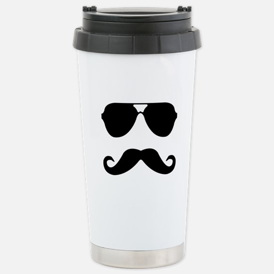 glasses and mustache Stainless Steel Travel Mug