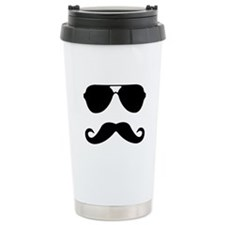 glasses and mustache Travel Mug