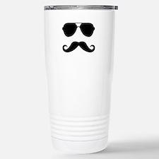 glasses and mustache Travel Mug