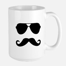 glasses and mustache Large Mug