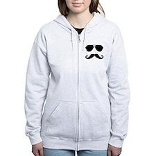 glasses and mustache Zip Hoodie