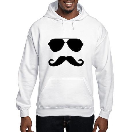 glasses and mustache Hooded Sweatshirt