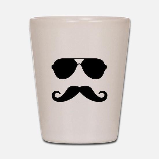 glasses and mustache Shot Glass