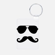 glasses and mustache Aluminum Photo Keychain