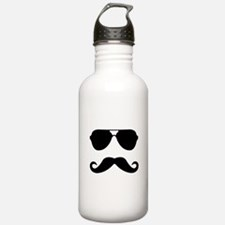 glasses and mustache Water Bottle