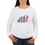 Baseball Evolution Tall Red Women's Long Sleeve T-