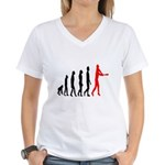 Baseball Evolution Tall Red Women's V-Neck T-Shirt
