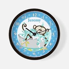 Monkey in Tub Wall Clock (Blue) - Jeremy