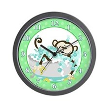 Monkey in Tub Wall Clock (Green)