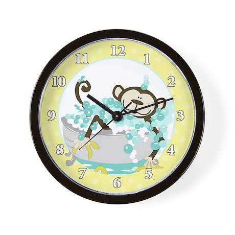 monkey in tub bathroom wall clock yellow by artbyjessie