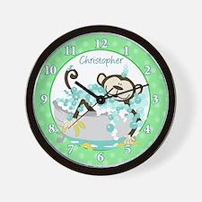 Monkey in Tub Bathroom Wall Clock (Green)