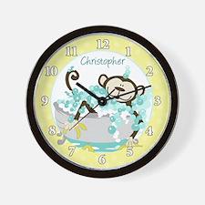 Monkey in Tub Bathroom Wall Clock (Yellow)