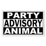 Party Animal Advisory Rectangle Sticker