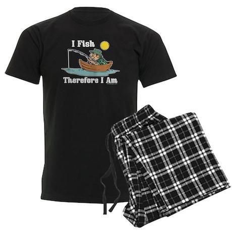 I Fish, Therefore I Am Men's Dark Pajamas