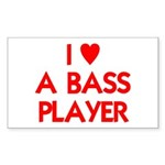 I LOVE A BASS PLAYER Sticker (Rectangle)