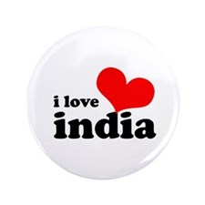 """I Love India 3.5"""" Button"""