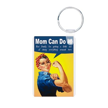 Mom as Rosie the Riveter Aluminum Photo Keychain